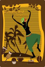 Mulher africana, com, coqueiros