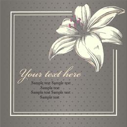 Ilustração de flor vintage com fronteiras