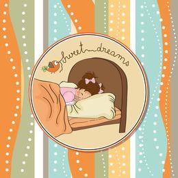 Girl sleeping illustration design