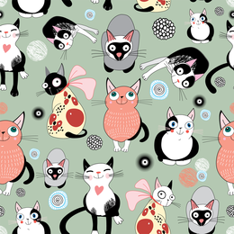 Hand drawn cat seamless pattern design