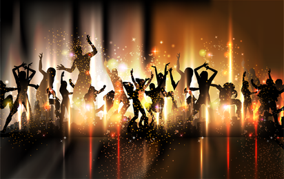 Carnival dancer silhouettes with sparkles