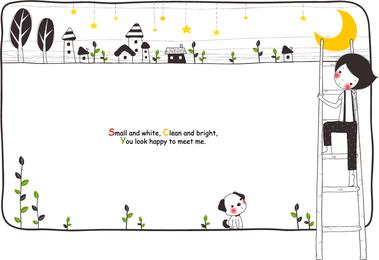 Ilustración infantil con perro y elementos