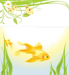 Ilustración de peces de colores con algas marinas