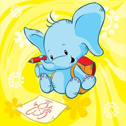 Desenho de ilustração de elefante fofo