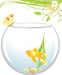 Peixinho com borboleta e plantas