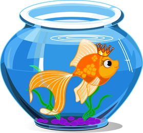 Cartoon goldfish isolated illustration