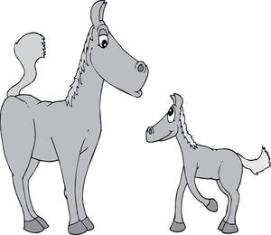 Dois cavalos cinza dos desenhos animados