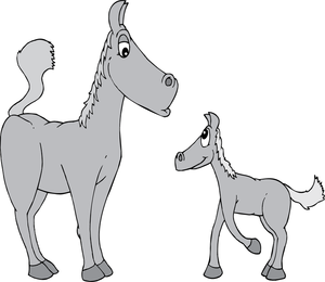 Two cartoon gray horses