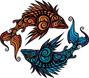Heráldica de vetores de peixes
