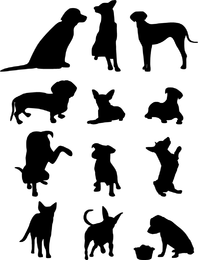 13 Dog Vector Silhouettes