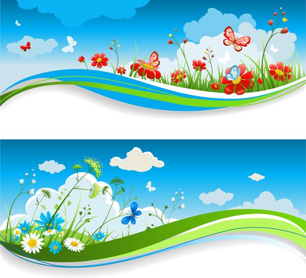 Flowery banner set