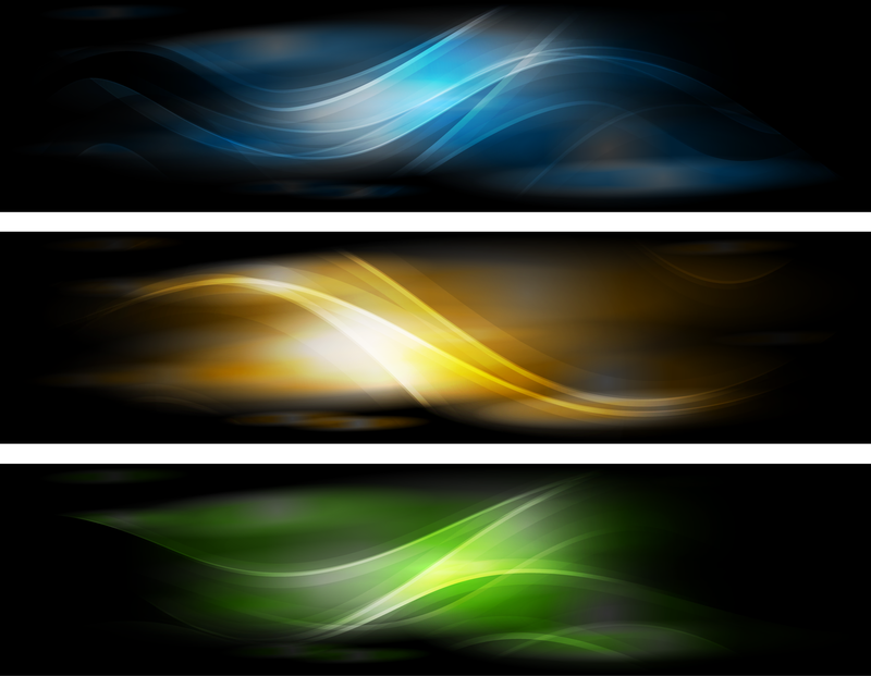 Abstract Banner Background Set With Waves Vector Download