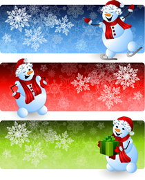 Cartoon Schneemann Banner