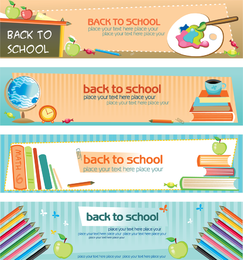 Set of 4 back to school banners