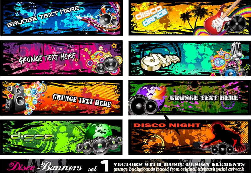 Grunge brushes banner set
