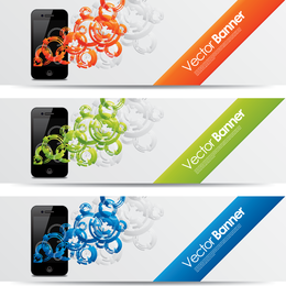 Set of swirled iPhone banners