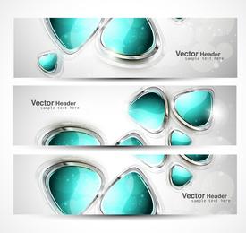 Conjunto de banners de gema abstracta