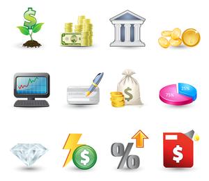 Ícones de investimento financeiro