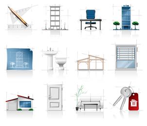 Icono de bocetos arquitectónicos interiores