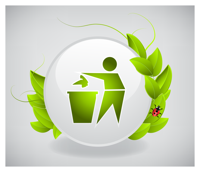 Recycling icon with leaves and ladybug