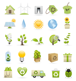 Green 3D icons about recycling