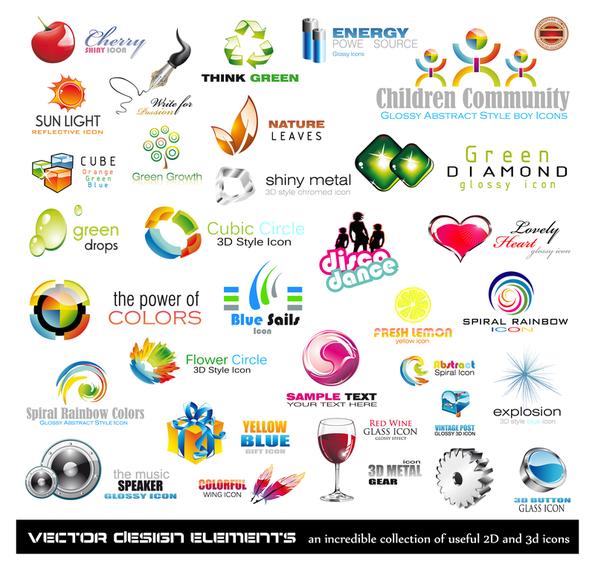 variety of threedimensional icon
