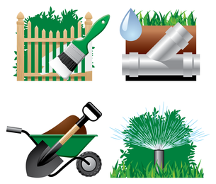 Vector de icono de tema de jardín