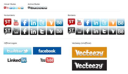 Ícones de mídia social e emblemas