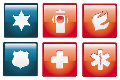 Conjunto de iconos de Vector de emergencia