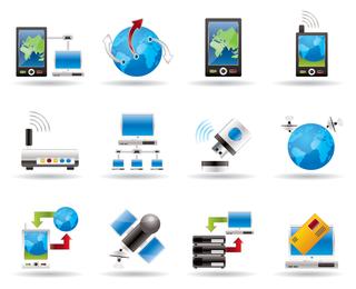 Ícone de tecnologia sofisticada azul