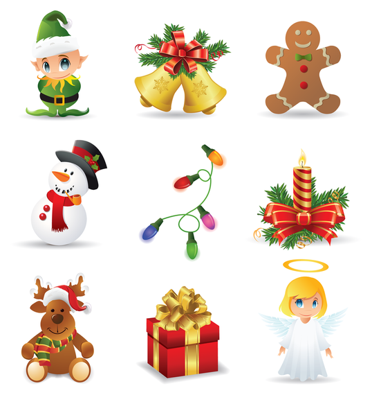 Beautiful christmas icons vector vector download - Objetos de navidad ...