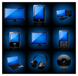 Tech devices 3D icon set