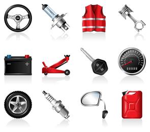 Automobilzubehör-Ikonenvektor
