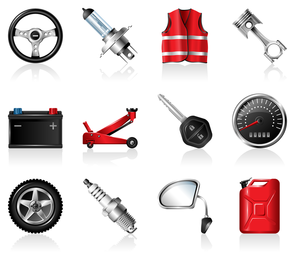 vector de icono de accesorios automotrices