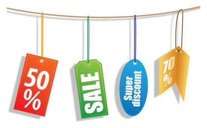 4 varied sale tags