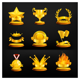Gold Medal Icon Vector set
