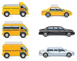 Conjunto de ícones de transporte isolado