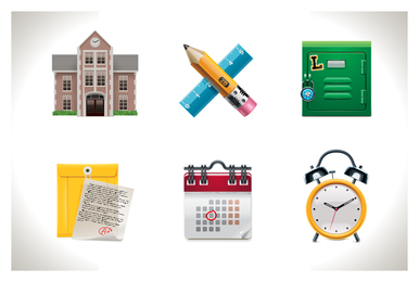 Set of school routine icons