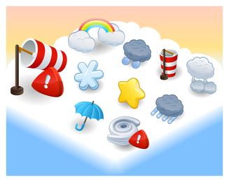 Illustrated weather icon set