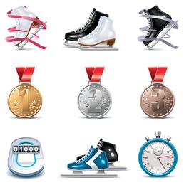 skating theme icon vector