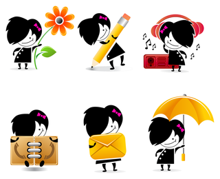 ícones de personagem de desenho bonito