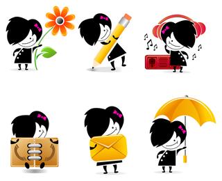 iconos de personaje de dibujos animados lindo