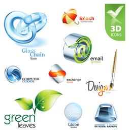 Colección de logos tridimensionales.
