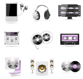 Conjunto de altavoces y reproductores de música.