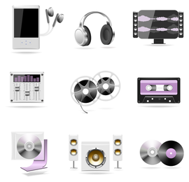 Music players and speakers set