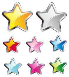 Colección de estrellas ilustradas en 3D.
