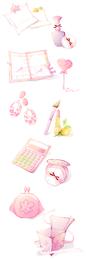 Coleção de ícone ilustrado rosa