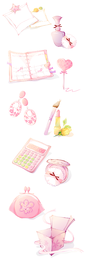 Pink illustrated icon collection