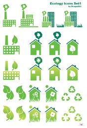 Set grüne Gebäudeikonen