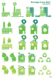 Set of green buildings icons